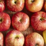 Organic gala apples in a wicker basket